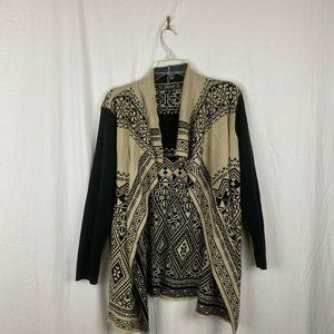 Lucky Brand Black Tan Tribal Print Cardigan - XL